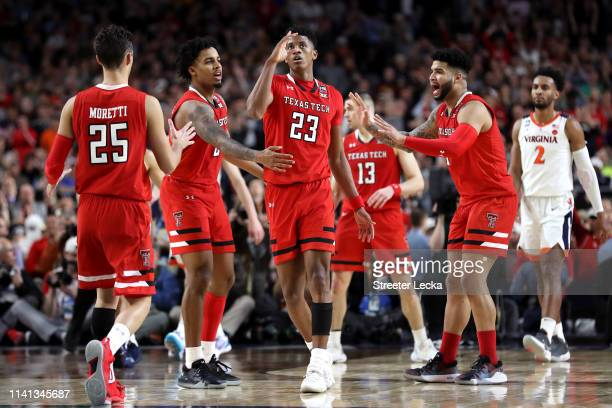 Jarrett Culver of the Texas Tech Red Raiders celebrates the play against the Virginia Cavaliers in the second half during the 2019 NCAA men's Final...
