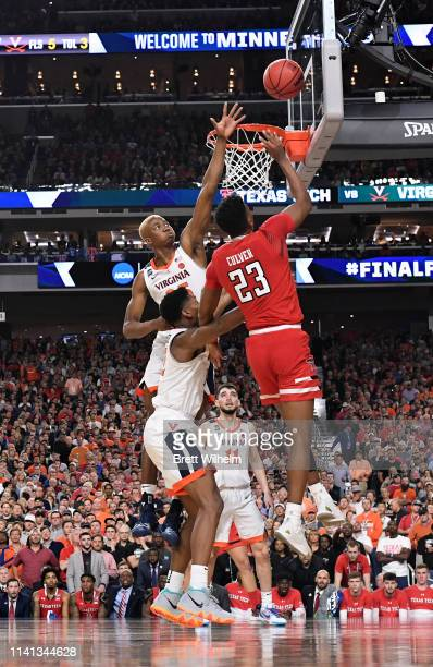Jarrett Culver of the Texas Tech Red Raiders drives to the basket against the Virginia Cavaliers during the second half of the 2019 NCAA men's Final...