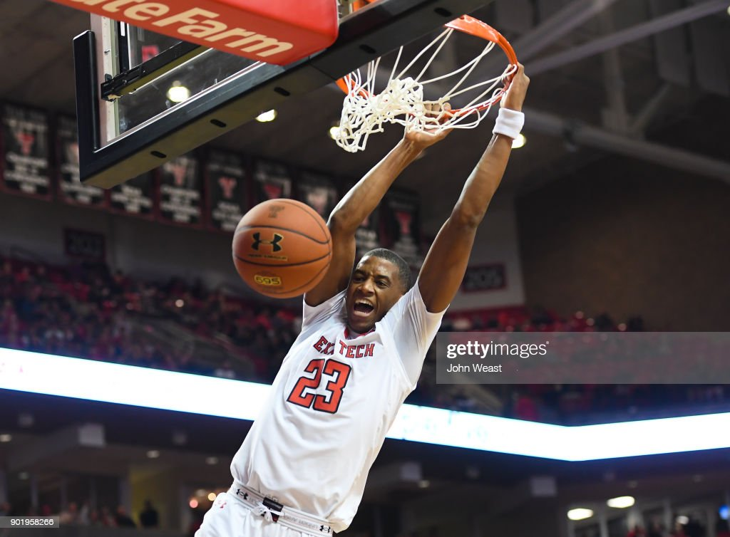Jarrett Culver #23 of the Texas Tech Red Raiders dunks the basketball during the game against the Kansas State Wildcats on January 6, 2018 at United Supermarket Arena in Lubbock, Texas. Texas Tech won the game 74-58.