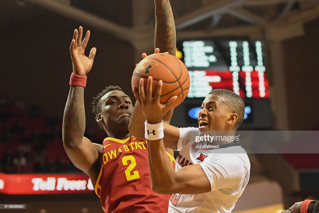 Jarrett Culver #23 of the Texas Tech Red Raiders goes to the basket against Cameron Lard #2 of the Iowa State Cyclones during the second half of the game on February 7, 2018 at United Supermarket Arena in Lubbock, Texas. Texas Tech defeated Iowa State 76-58.