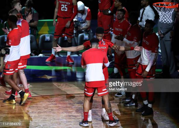 Jarrett Culver of the Texas Tech Red Raiders is introduced before the game against the Virginia Cavaliers in the 2019 NCAA men's Final Four National...