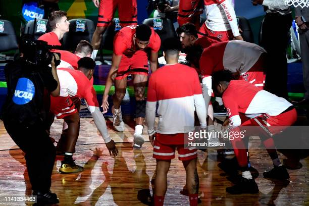 Jarrett Culver of the Texas Tech Red Raiders is introduced prior to the 2019 NCAA men's Final Four National Championship game against the Virginia...