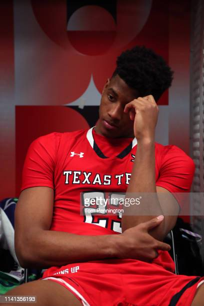 Jarrett Culver of the Texas Tech Red Raiders reacts in the locker room after his teams 8577 loss to the Virginia Cavaliers in the 2019 NCAA men's...