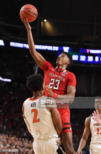 Jarrett Culver of the Texas Tech Red Raiders shoots the ball over Braxton Key of the Virginia Cavaliers during the second half of the 2019 NCAA men's...