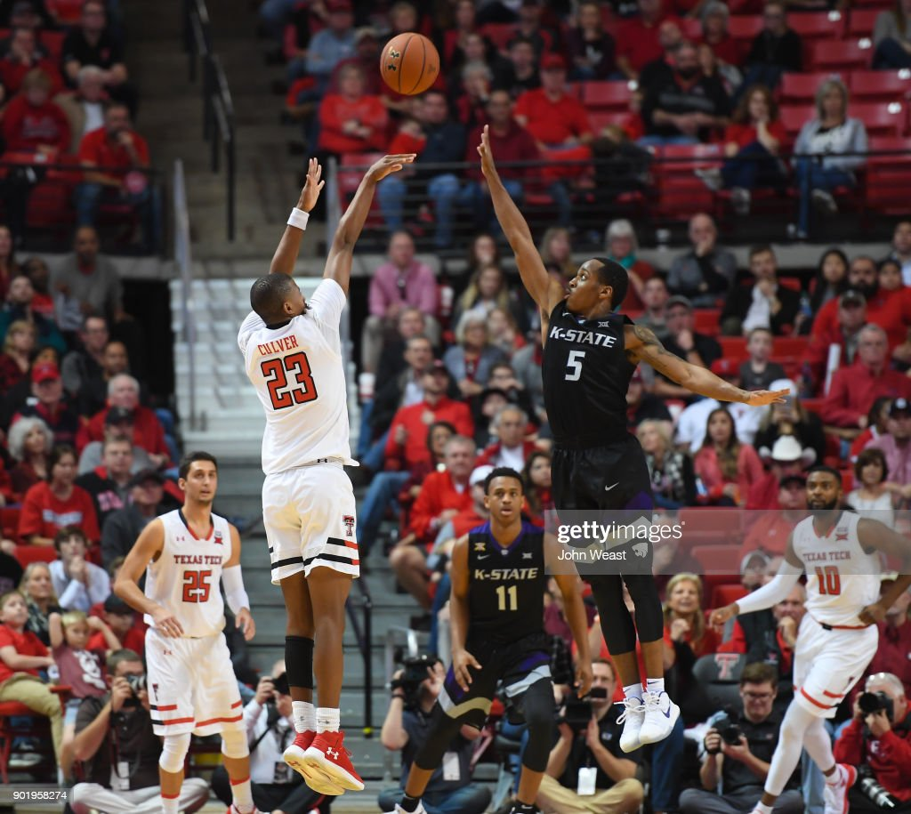 Jarrett Culver #23 of the Texas Tech Red Raiders shoots the ball over Barry Brown #5 of the Kansas State Wildcats during the game on January 6, 2018 at United Supermarket Arena in Lubbock, Texas. Texas Tech won the game 74-58.