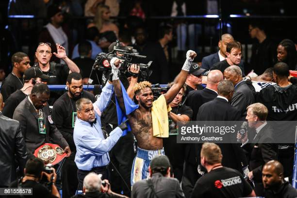 Jarrett Hurd celebrates after defeating Austin Trout in their IBF Junior Middleweight Title bout at Barclays Center of Brooklyn on October 14, 2017...