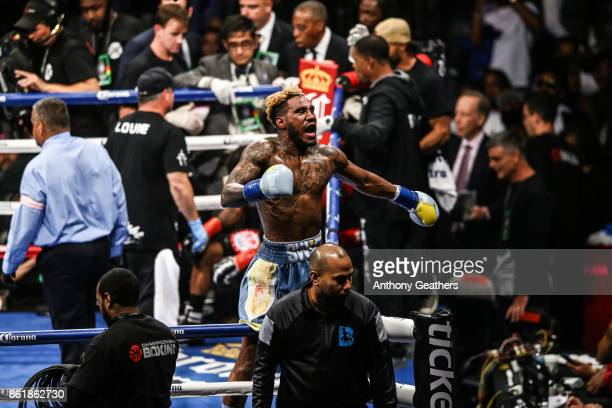 Jarrett Hurd celebrates after the fight against Austin Trout during their IBF Junior Middleweight Title bout at Barclays Center on October 14, 2017...