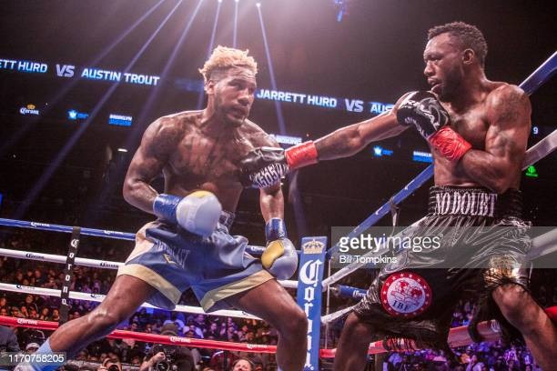 October 14: Jarrett Hurd defeats Austin Trout by RTD in the 10th round in their Super Welterweight fight at the Barclays Center in Brooklyn on...