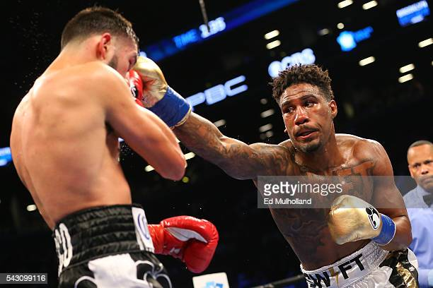 Jarrett Hurd lands a right hand to the head of Oscar Molina during their bout at the Barclays Center on June 25 2016 in the Brooklyn borough of New...