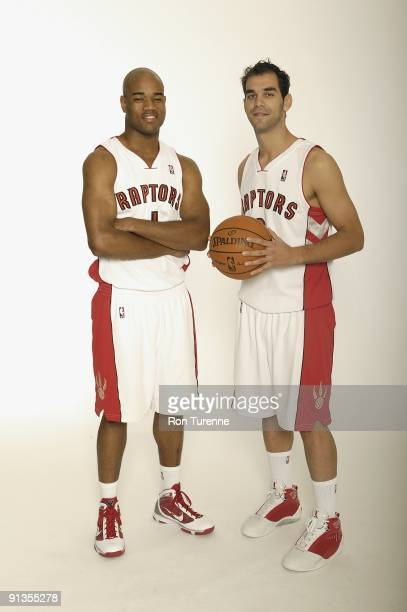 Jarrett Jack and Jose Calderon of the Toronto Raptors pose for a portrait during 2009 NBA Media Day on September 28 2009 at Air Canada Centre in...