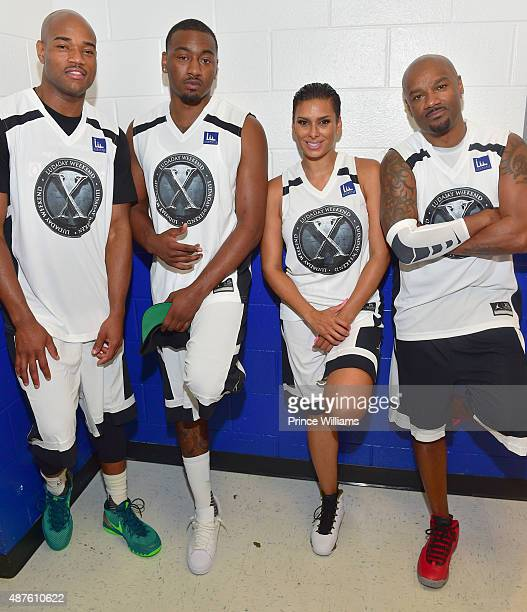 Jarrett Jack John Wall Laura Govan Big Tigger attend Team Luda Vs Team Breezy Celebrity Basketball Game at Georgia State University on September 6...