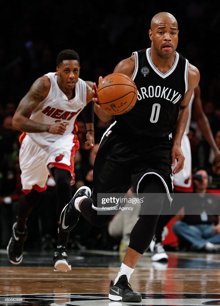 Jarrett Jack #0 of the Brooklyn Nets in action during NBA basketball game between Brooklyn Nets and Miami Heat at the Barclays Center in the Brooklyn Borough of New York City, on December 16, 2014.