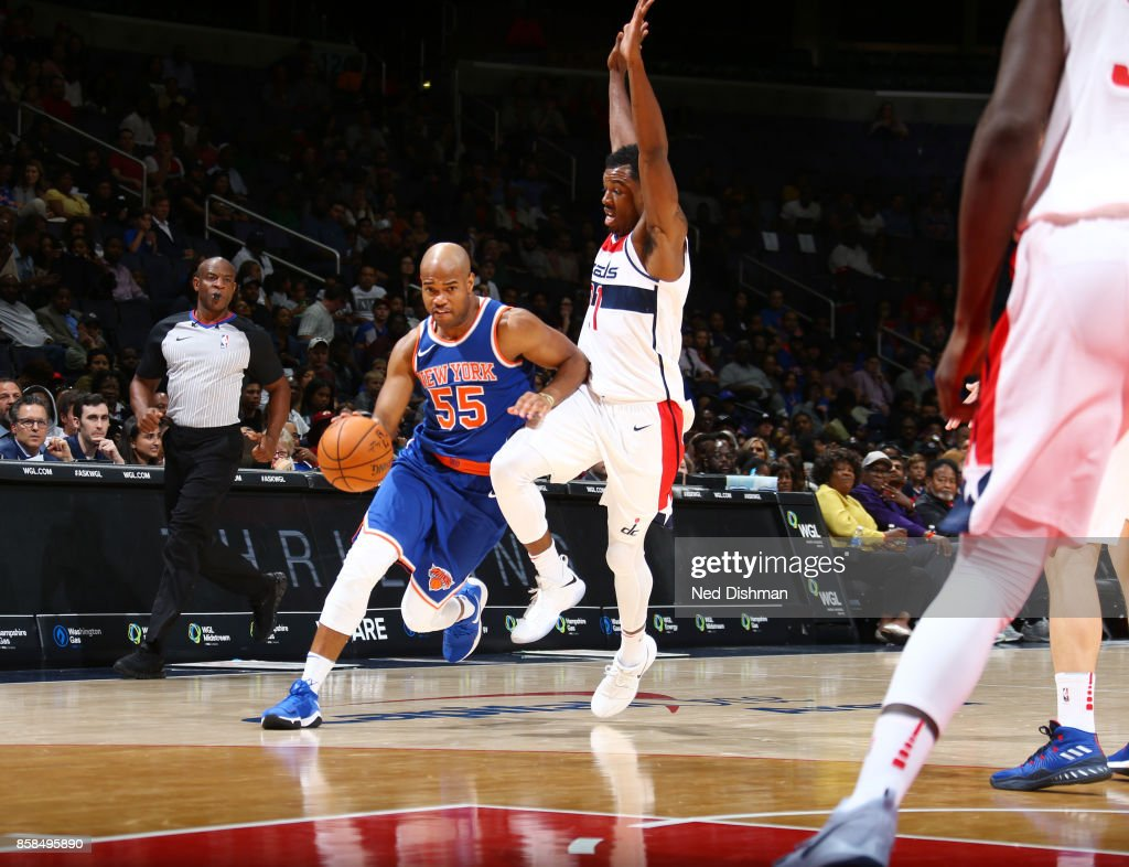 Jarrett Jack #55 of the New York Knicks handles the ball against the Washington Wizards during the preseason game on October 6, 2017 at Capital One Arena in Washington, DC.