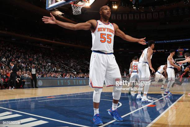 Jarrett Jack of the New York Knicks reacts to a play during the game against the Miami Heat on April 6 2018 at Madison Square Garden in New York City...