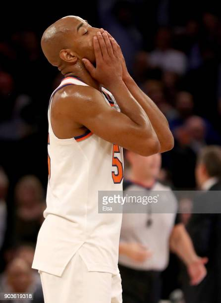 Jarrett Jack of the New York Knicks reacts to throwing a pass out of bounds in the second overtime period against the Chicago Bulls at Madison Square...