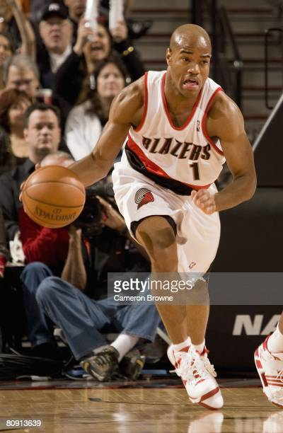 Jarrett Jack of the Portland Trail Blazers moves the ball against the Memphis Grizzlies during the game on April 15 2008 at the Rose Garden Arena in...