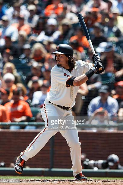 Jarrett Parker of the San Francisco Giants at bat against the San Diego Padres during the fourth inning at ATT Park on May 25 2016 in San Francisco...