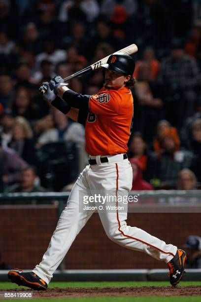 Jarrett Parker of the San Francisco Giants at bat against the San Diego Padres during the fifth inning at ATT Park on September 29 2017 in San...