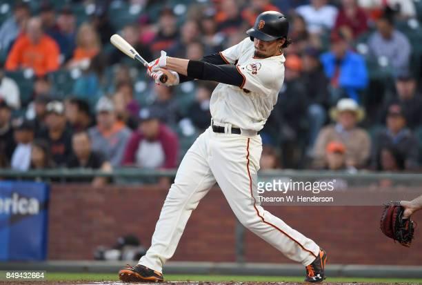 Jarrett Parker of the San Francisco Giants bats against the Arizona Diamondbacks in the bottom of the first inning at ATT Park on September 16 2017...