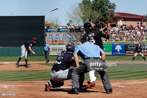 Jarrett Parker of the San Francisco Giants grounds out and breaks his bat in the fourth inning against the Cleveland Indians during the spring...