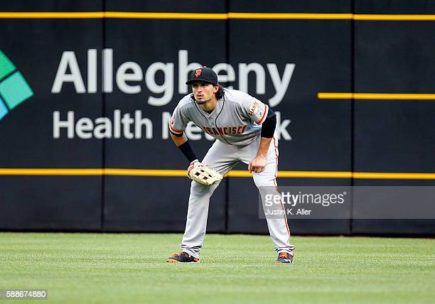 Jarrett Parker of the San Francisco Giants in action during the game against the Pittsburgh Pirates at PNC Park on June 20 2016 in Pittsburgh...