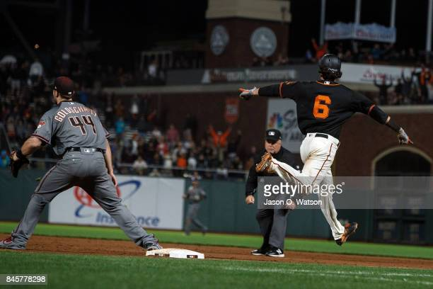 Jarrett Parker of the San Francisco Giants reacts after hitting a walk off single against the Arizona Diamondbacks during the tenth inning at ATT...
