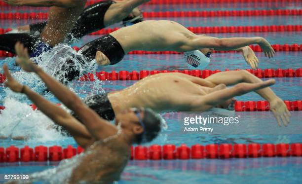 Jarrett Perry of USA competes in the 100m Backstroke S9 Swimming event at the National Aquatics Centre during day seven of the 2008 Paralympic Games...