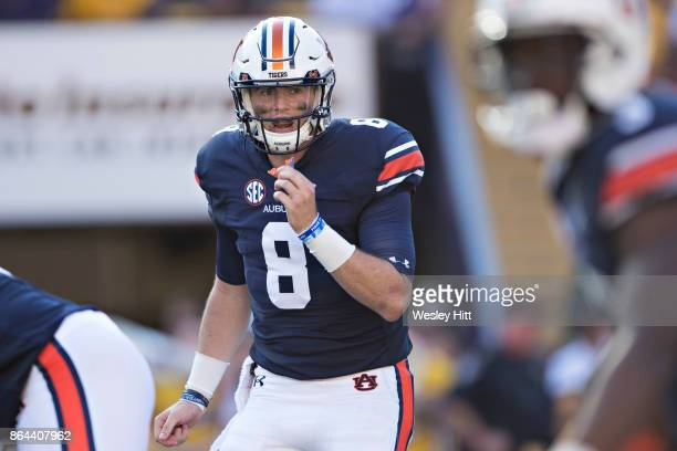 Jarrett Stidham of the Auburn Tigers calls out the next play during a game against the LSU Tigers at Tiger Stadium on October 14 2017 in Baton Rouge...