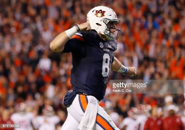 Jarrett Stidham of the Auburn Tigers celebrates after a touchdown during the third quarter against the Alabama Crimson Tide at Jordan Hare Stadium on...