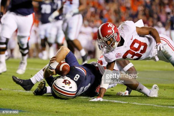 Jarrett Stidham of the Auburn Tigers rushes for a touchdown during the fourth quarter against the Alabama Crimson Tide at Jordan Hare Stadium on...