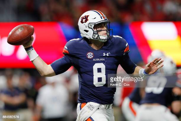 Jarrett Stidham of the Auburn Tigers throws a pass during the first half against the Georgia Bulldogs in the SEC Championship at MercedesBenz Stadium...