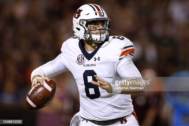 Jarrett Stidham of the Auburn Tigers throws the ball during the second half against the Mississippi State Bulldogs at Davis Wade Stadium on October 6...
