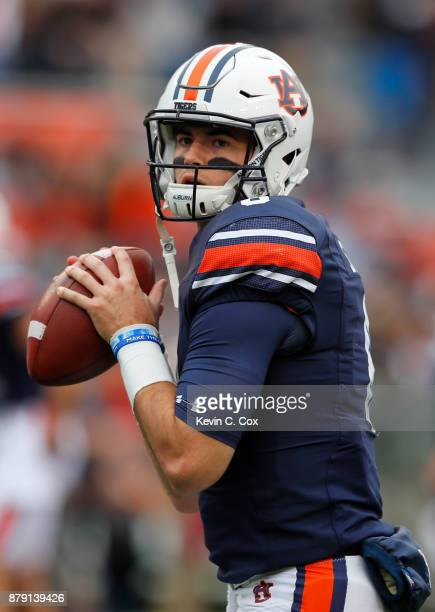 Jarrett Stidham of the Auburn Tigers warms up prior to the game against the Alabama Crimson Tide at Jordan Hare Stadium on November 25 2017 in Auburn...