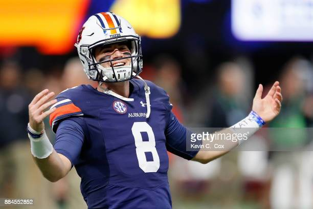Jarrett Stidham of the Auburn Tigers warms up prior to the game against the Georgia Bulldogs in the SEC Championship at MercedesBenz Stadium on...