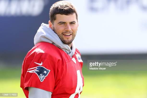 Jarrett Stidham of the New England Patriots arrives to Patriots Training camp at Gillette Stadium on August 26 2020 in Foxborough Massachusetts
