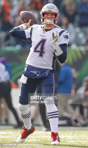 Jarrett Stidham of the New England Patriots is seen before the game against the Cincinnati Bengals at Paul Brown Stadium on December 15 2019 in...