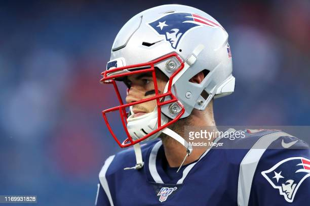 Jarrett Stidham of the New England Patriots looks on during the preseason game between the Carolina Panthers and the New England Patriots at Gillette...