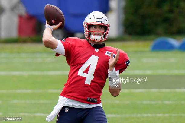 Jarrett Stidham of the New England Patriots throws a pass during training camp at Gillette Stadium on August 17 2020 in Foxborough Massachusetts