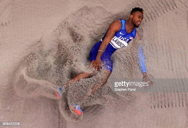 Jarrion Lawson of United States competes in the Long Jump Mens Final during the IAAF World Indoor Championships on Day Two at Arena Birmingham on...