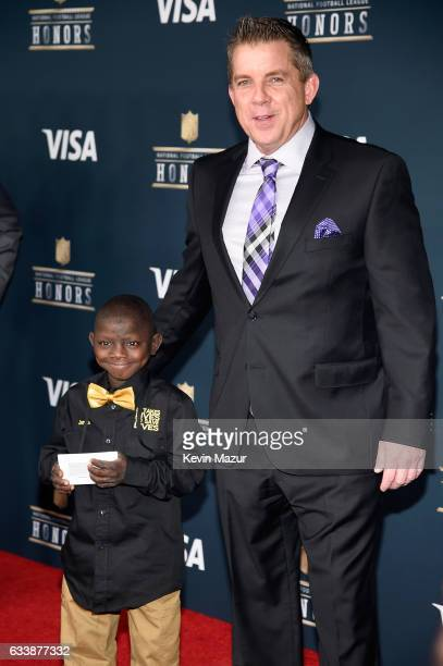 Jarrius Robertson and NFL coach Sean Payton attend 6th Annual NFL Honors at Wortham Theater Center on February 4 2017 in Houston Texas
