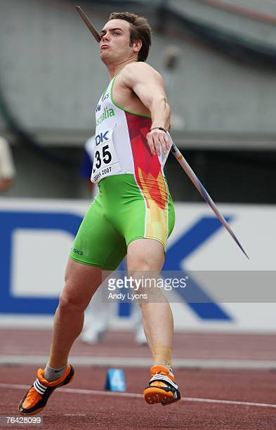 Jarrod Bannister of Australia competes during the Men's Javelin Throw Qualifications on day seven of the 11th IAAF World Athletics Championships on...