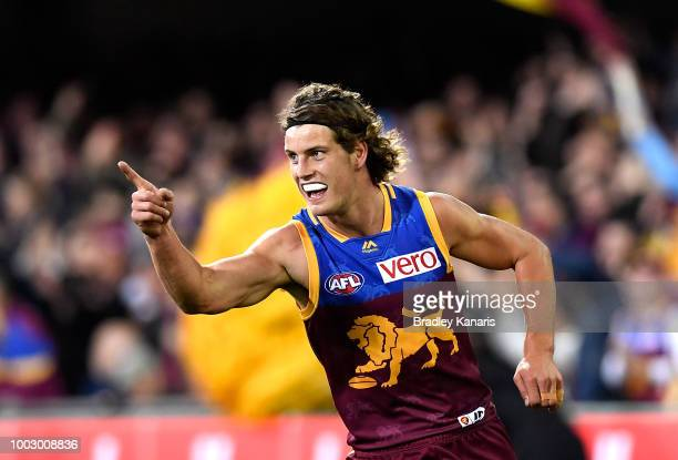 Jarrod Berry of the Lions celebrates kicking a goal during the round 18 AFL match between the Brisbane Lions and the Adelaide Crows at The Gabba on...