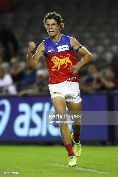 Jarrod Berry of the Lions celebrates kicking a goal during the round one AFL match between the St Kilda Saints and the Brisbane Lions at Etihad...