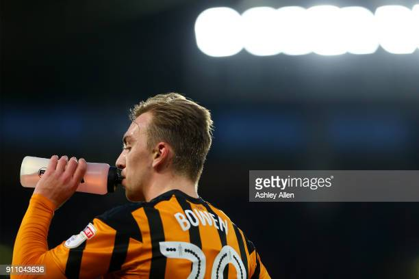 Jarrod Bowen has a drink on the sidelines during the Emirates FA Cup Fourth Round match between Hull City and Nottingham Forest at KCOM Stadium on...