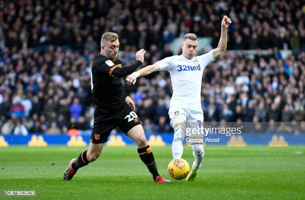 Jarrod Bowen of Hull City and Ezgjan Alioski of Leeds United compete for the ball during the Sky Bet Championship match between Leeds United and Hull...