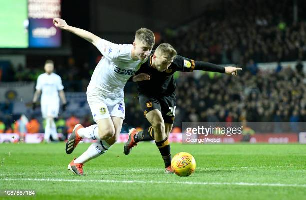 Jarrod Bowen of Hull City and Jack Clarke of Leeds United compete for the ball during the Sky Bet Championship match between Leeds United and Hull...