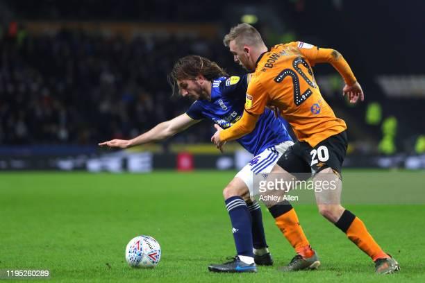Jarrod Bowen of Hull City battles with Ivan Sunjic of Birmingham City during the Sky Bet Championship match between Hull City and Birmingham City at...