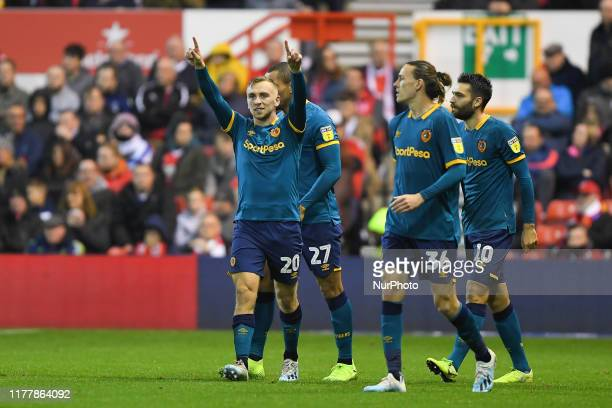Jarrod Bowen of Hull City celebrates after scoring a goal to make it 02 during the Sky Bet Championship match between Nottingham Forest and Hull City...