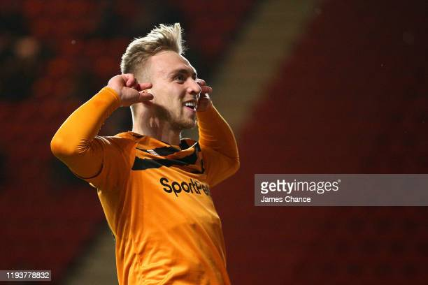 Jarrod Bowen of Hull City celebrates after scoring his team's first goal during the Sky Bet Championship match between Charlton Athletic and Hull...