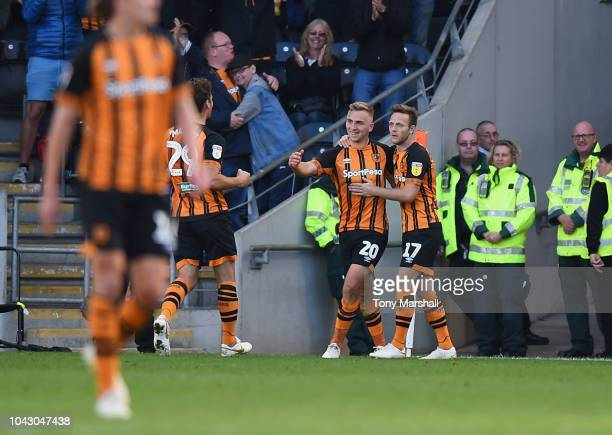 Jarrod Bowen of Hull City celebrates scoring from the penalty spot during the Sky Bet Championship match between Hull City and Middlesbrough at KCOM...